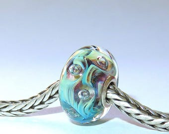 Luccicare Lampwork Bead - Nebula III -  Lined with Sterling Silver