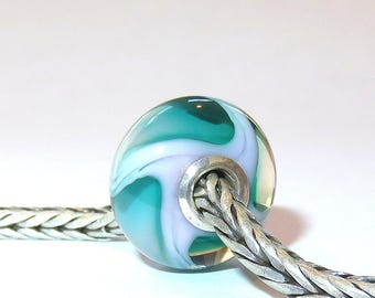Luccicare Lampwork Bead - Pink&Green Wave -  Lined with Sterling Silver