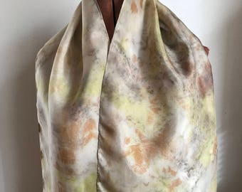 Tea, black walnut, and goldenrod - dyed silk scarf, naturally dyed scarf