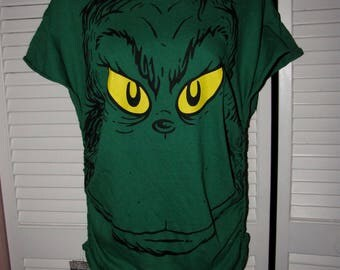 classic How the Grinch Stole Christmas inspired shredded deconstructed comfy oversized off shoudler wide neck tshirt grinchy facet shirt