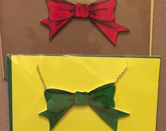 2 bow necklaces