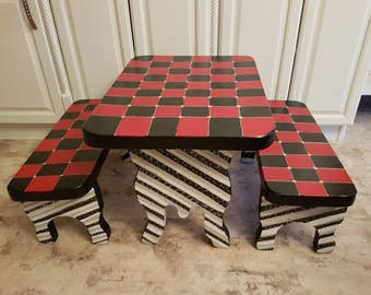 Child's Picnic / Play Table & 2 Benches Set Funky Red and Black Checkers with Striped Bases