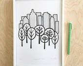 Central Park screen print by Jane Foster  - hand printed signed LIMITED EDITION New York