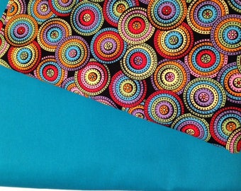 24 CHAIR POCKETS Durable Cotton  colorful swirl circles  with black, lime green red and turq. backers 6 each