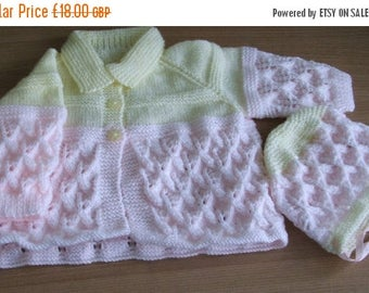 SUMMER SALE Hand Knitted Set to fit 3 - 6 Month Baby