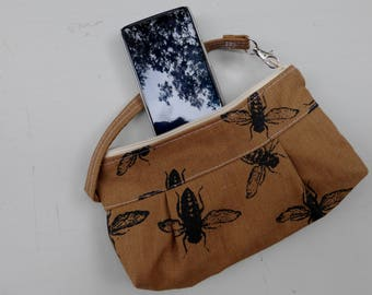 Bee Wristlet - Organic Linen - Hand Printed - Zippered Top