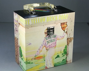 45 Record Case 7-inch Vinyl - Handmade from Recycled Record - Goodbye Yellow Brick Road Elton John