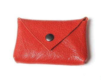 "Small red leather coin purse, Thick red leather coin pouch, Red leather purse, MALAM, 10. x 7 cm (4x2.7"")"