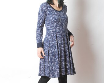 Blue floral dress, Blue long-sleeved jersey dress, Fall fashion, Womens clothing, Womens dresses, MALAM, size FR 40 / UK 12