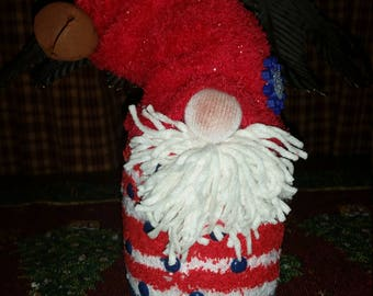 Red White & Blue Plush Gnome Doll Christmas Decoration