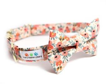 Les Fleurs Rosa Peach Dog Bowtie Collar - Rifle Paper Co.