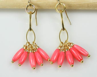 Gold and Coral Linear Dangle Earrings