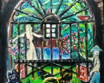New Orleans Courtyard Dream original PeaceSwirl painting mixed media
