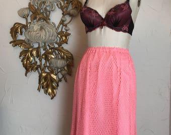 1960s skirt pink skirt crochet skirt size medium mod skirt bohemian skirt 28 waist 60s skirt midi skirt knit skirt boho skirt