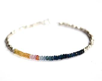 Sapphire Bracelet/Beaded Jewelry/Beaded Bracelet/Handmade Jewelry/Dainty Jewelry/Ombre Effect/Gift Ideas