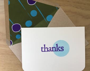 "Geometric ""Thanks"" Notecards (set of 10)"