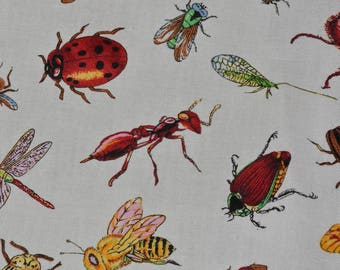 Insect and Bugs fabric quilting cotton OOP Robert Kaufman
