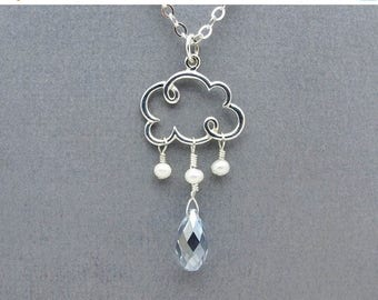 cloud necklace, cloud charm, silver cloud pendant, raindrop necklace, raindrop jewelry, cloud jewelry, weather jewelry, raindrop pendant,