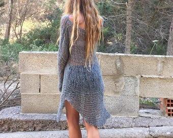 Gray sweater, boho Asymmetrical sweater, Sweater dress, women's Gray lightweight  open weave grunge loose knit sweater