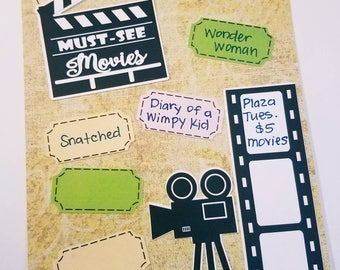 Movies Die Cuts / Movie List/ Traveler's Notebook/Journaling/ Movie Die Cuts/Planner Die Cuts Set of 15