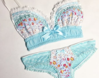 Light Blue Sailor Moon Panty - Pick Your Size - LIMITED EDITION - Handmade Vegan Bridal