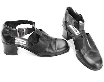 Women Us 7.5 Retro Mary Janes Shoes 90s Black Leather Block Chunky Heel 90s Maryjanes Shoes Stretchy Slides European Quality Eur 38 , Uk 5