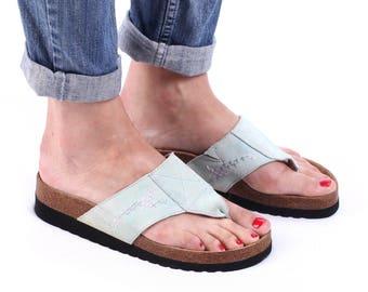 Women Us 7.5 Birkenstock Style Cork Mules Pale Blue Suede SCHOLL Platforms Sliders Vintage Thong Sandals Open Toe Platform Shoes  Uk 5 EU 38