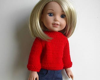14.5 Inch Doll Clothes Knit Red Sweater with Long Sleeves Handmade to fit the Wellie Wishers and other similar dolls - Bright Red
