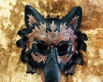 READY TO SHIP Autumn Leaf Wolf Leather Mask ...  handmade original leather mask masquerade mardi gras halloween burning man costume