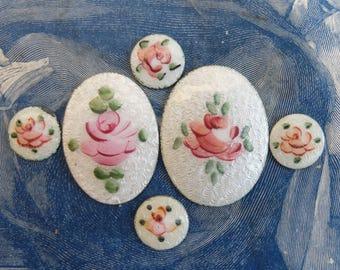 6 Vintage Guilloche Enamel Rose Cabochon Small