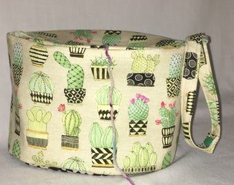 Oval Owl Knitting project bag, great for 2-at-a-time socks