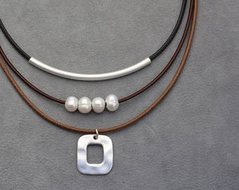 Layered leather multistrand necklace with a silver plated pendant and pearls, short boho statement necklace