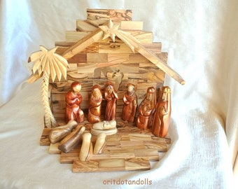 Wood nativity, olive wood, 12 art dolls with a stable, hand painted hand carved holy family