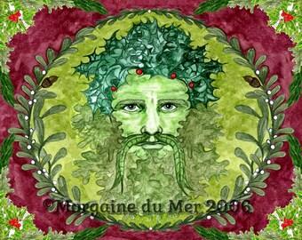 Holly King Winter Solstice GreenMan Print Pagan Fantasy Fine Art Yule Altar Decor Ink and Watercolour Illustration