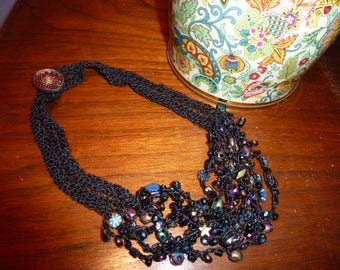 Midnite Lace, a Black Crocheted Cord Bead Necklace Using Many Peacock Colors of Glass Beads in Florals, Leaves, Stars, Czech Glass Button