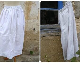 Vintage French Edwardian simple  white cotton apron 2 pockets