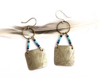 Mixed Metal Etched Beaded Tribal Earrings (E1266)