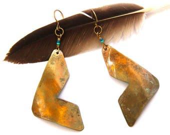 Oxidized Brass Chevron Earrings (E1281)