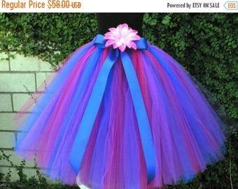 "SUMMER SALE 20% OFF Blue Fuchsia Pink Purple Tutu - Girls Long Tutu Skirt -  Flower Girl Tutu - Wild Berries - Custom sewn tutu up to 20"" -"