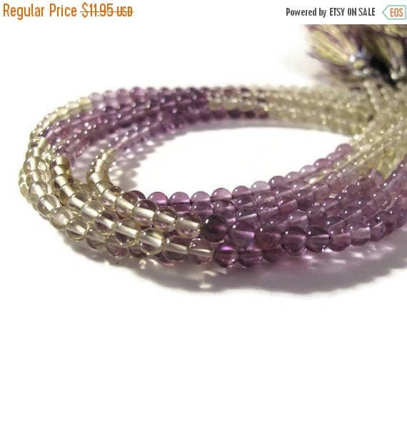Summer SALEabration - Amethyst and Lemon Quartz Beads, Smooth Natural Gemstones, 3mm - 4mm Rounds for Making Jewelry (S-Mix4)
