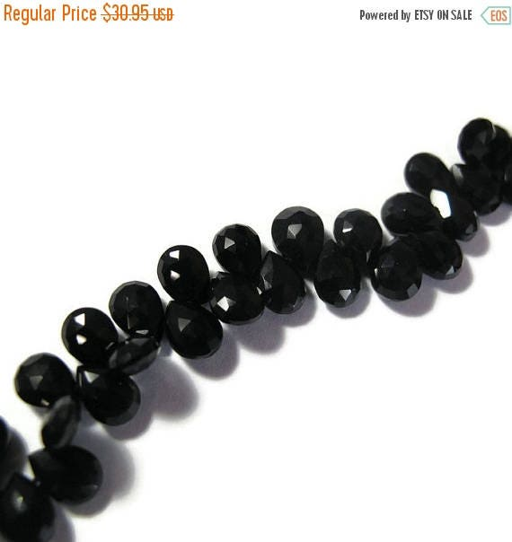 Summer SALEabration - Black Spinel Beads, 7mm x 5mm Faceted Pear Shaped Briolettes, 4 Inch Strand of Natural Gemstones for Making Jewelry (B