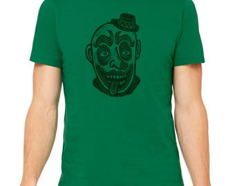 Clown Hand Carved   Woodblock Printed T Shirt