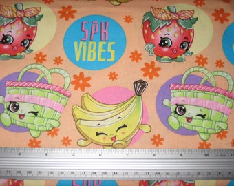 "NEW SHOPKINS Fabric, ""Fruit Vibes"" on peach, Yard"