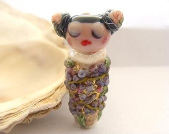 Enameled Floral Geisha Bead Handmade Lampwork