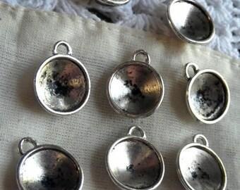 SALE 30% Off Antiqued Silver Cast Rivoli 12mm Round Settings One Loop 8 Pcs