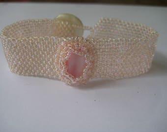 Beaded Cuff Bracelet in Peach