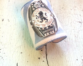 Grain Sack Wide Adjustable Cuff with Bicycle Badge and Rhinestones