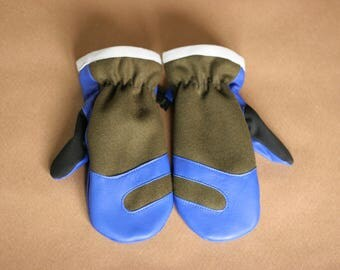 Wool and Leather Mitten | Trail Mitt | Olive Green Wool Melton and Tahoe Blue Deerskin Leather