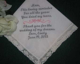ON SALE Embroidered Mother of the Bride Gift – Mother of the Bride Handkerchief – Wedding Handkerchief – Personalized Hankie116S