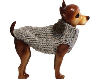 Hand Knit Grey Rustic Dog Sweater with Flower